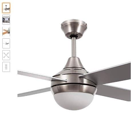 ventilador de techo con manod a distancia y luz plateado